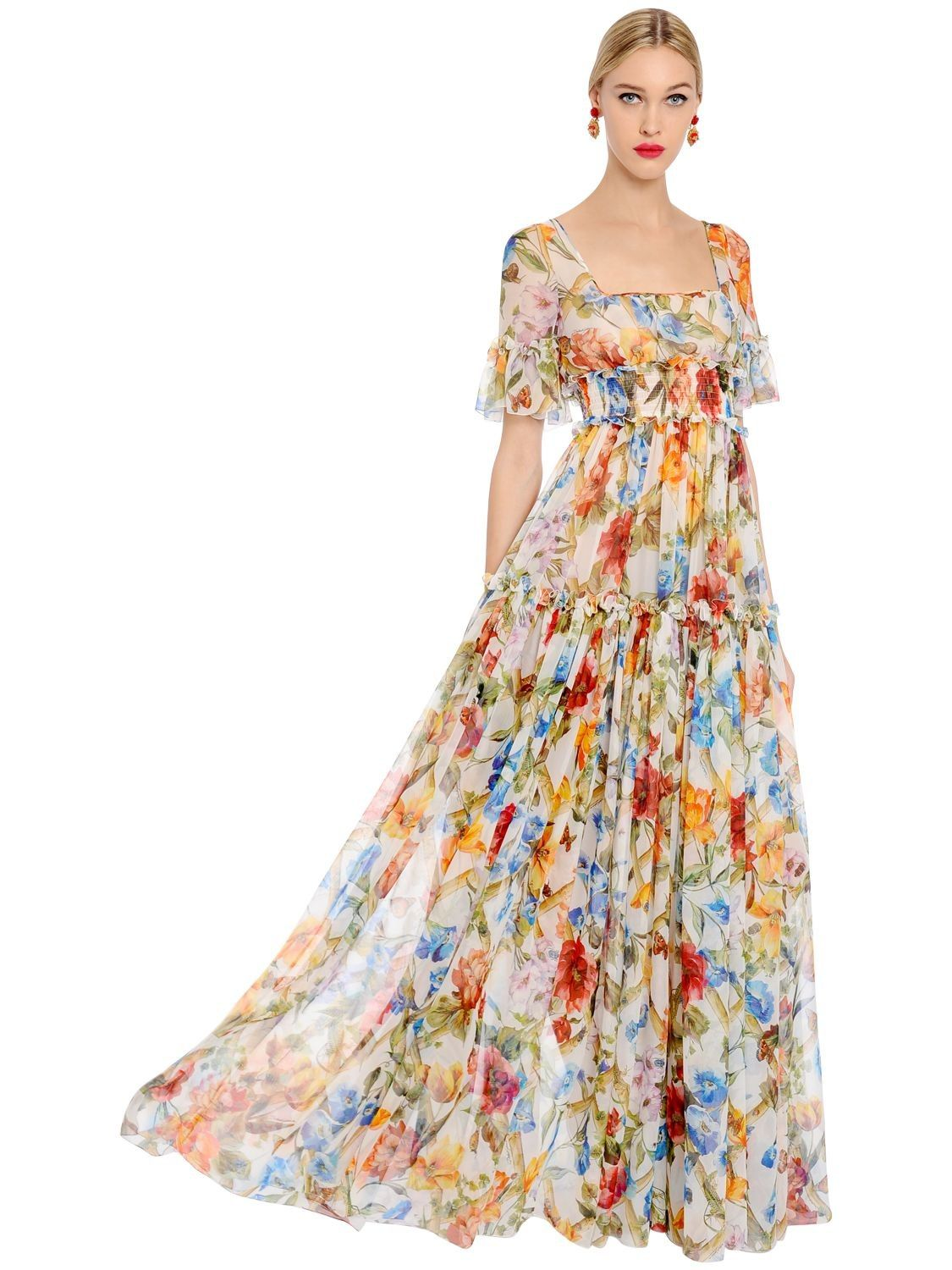 Shaffon Floral Dress with Sash
