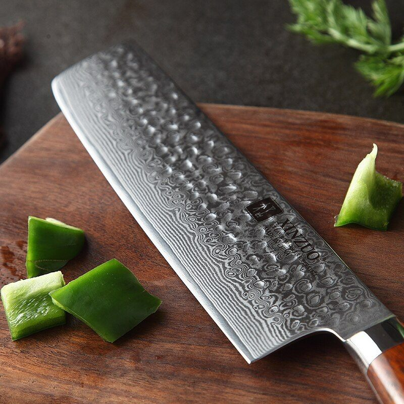 Xinzuo 7 Inch Nakiri Knife Japanese 67 Layer Damascus Samurai Steel Kitchen Knife Rosewood Handle Chef Knives Cleaver Cutlery Chef Knife Kitchen Knives Knife