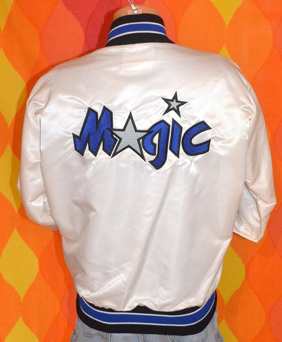 vintage 80s satin jacket orlando MAGIC nba basketball Medium white shiny  rare 90s hip hop c23895328