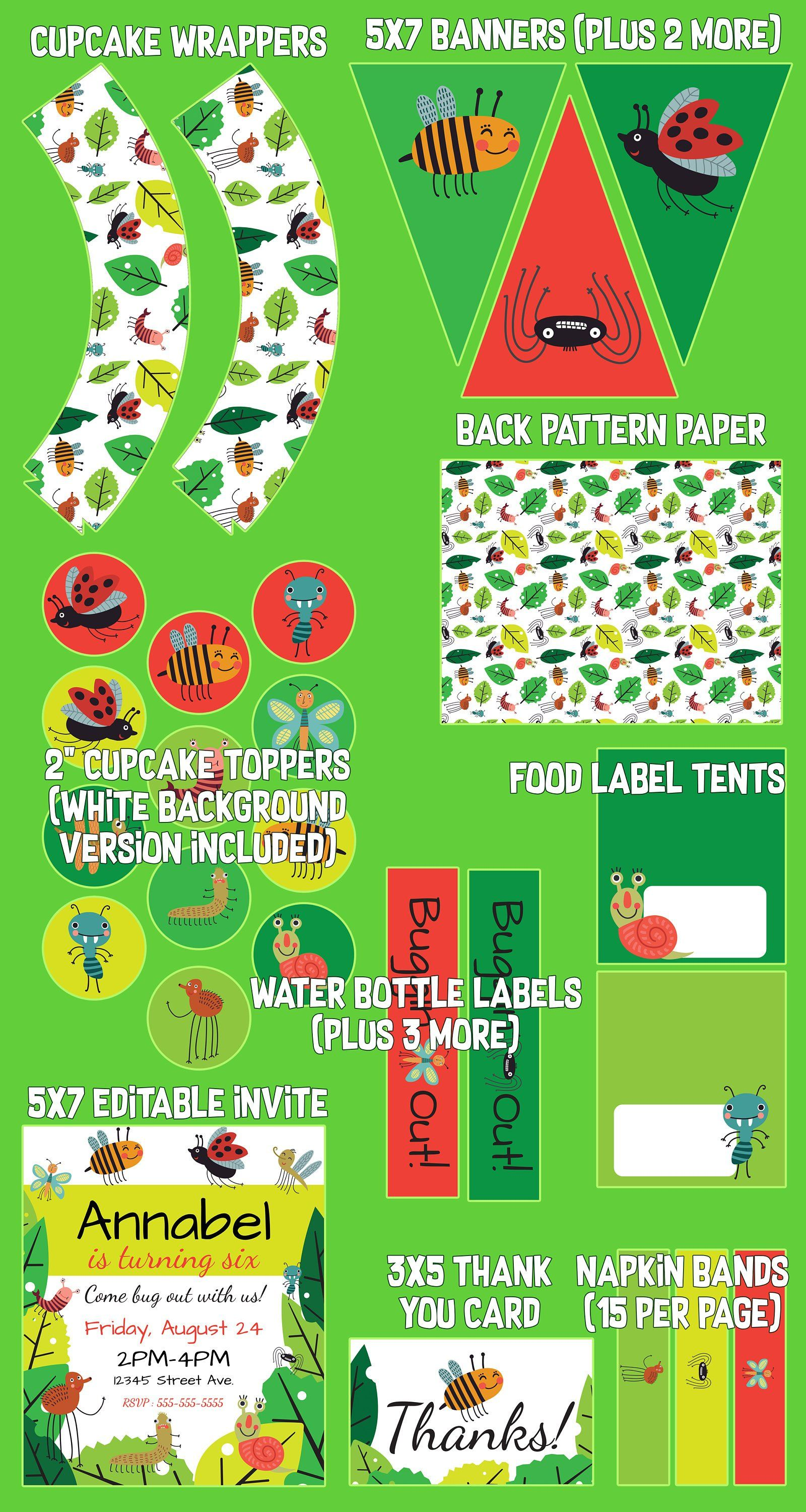 BUGGING OUT | Bugs Printable Party Kit | Bugs Party Decorations ...