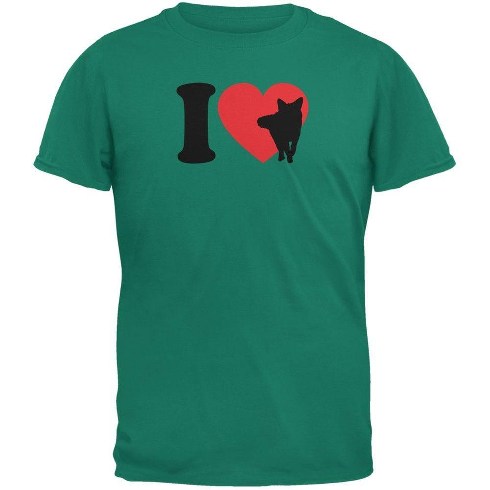 I Heart Love Fox Foxes Jade Green Adult T-Shirt
