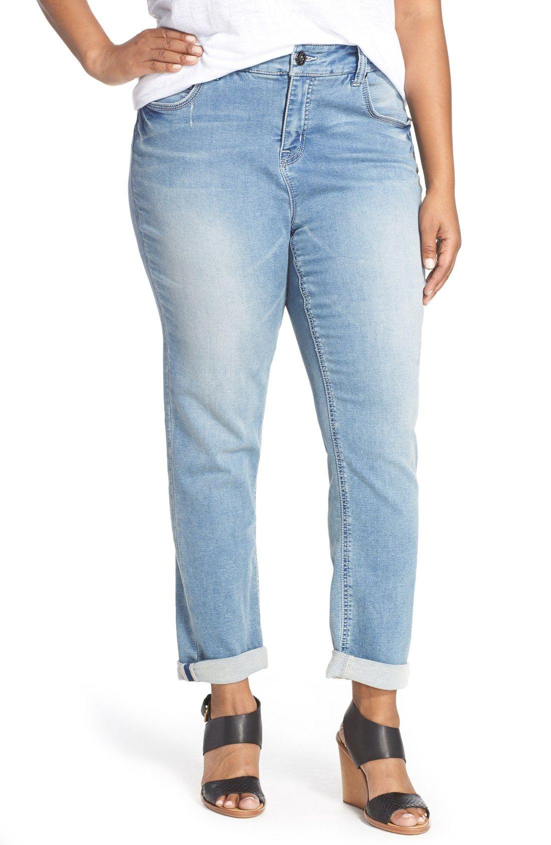 Melissa McCarthy Seven7 Stretch Roll Cuff Girlfriend Jeans ...