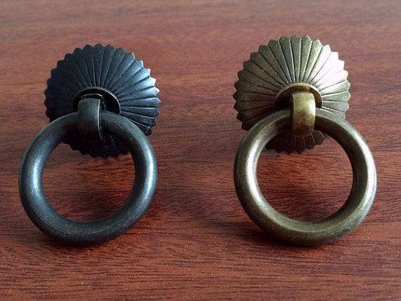Small Drawer Pull Knobs Handles Dresser Drop Pulls Rings / Antique Bronze  Black Door Knocker Cabinet