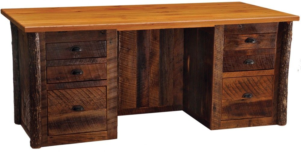 Barnwood Executive Desk. Constructed Using Reclaimed Red Oak Planks From  Tobacco Barns Built In The