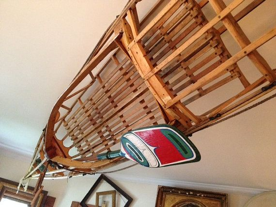 Antique 1920s Wooden Frame Kayak W Paddle Approx 17 Feet