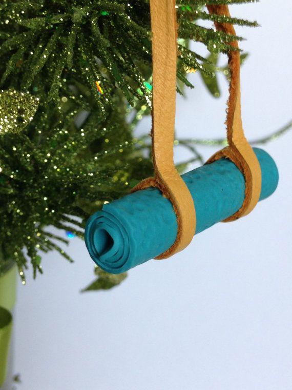 Yoga Ornament Yoga Mat Christmas Ornament Leather And Polymer Clay Stocking Stuffer Christmas Ornaments How To Make Ornaments Yoga Christmas