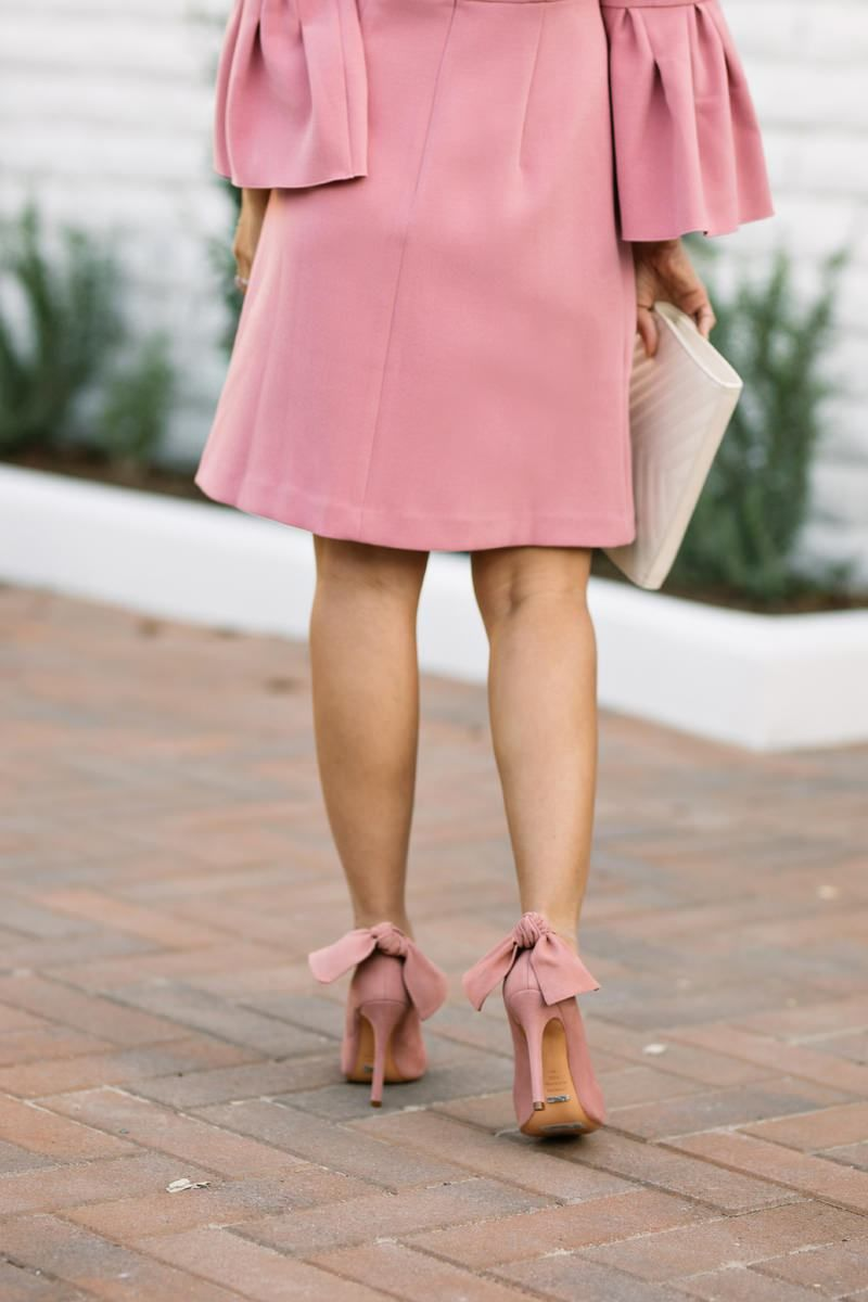 lace and locks, petite fashion blogger, pink bell sleeve dress, ann ...