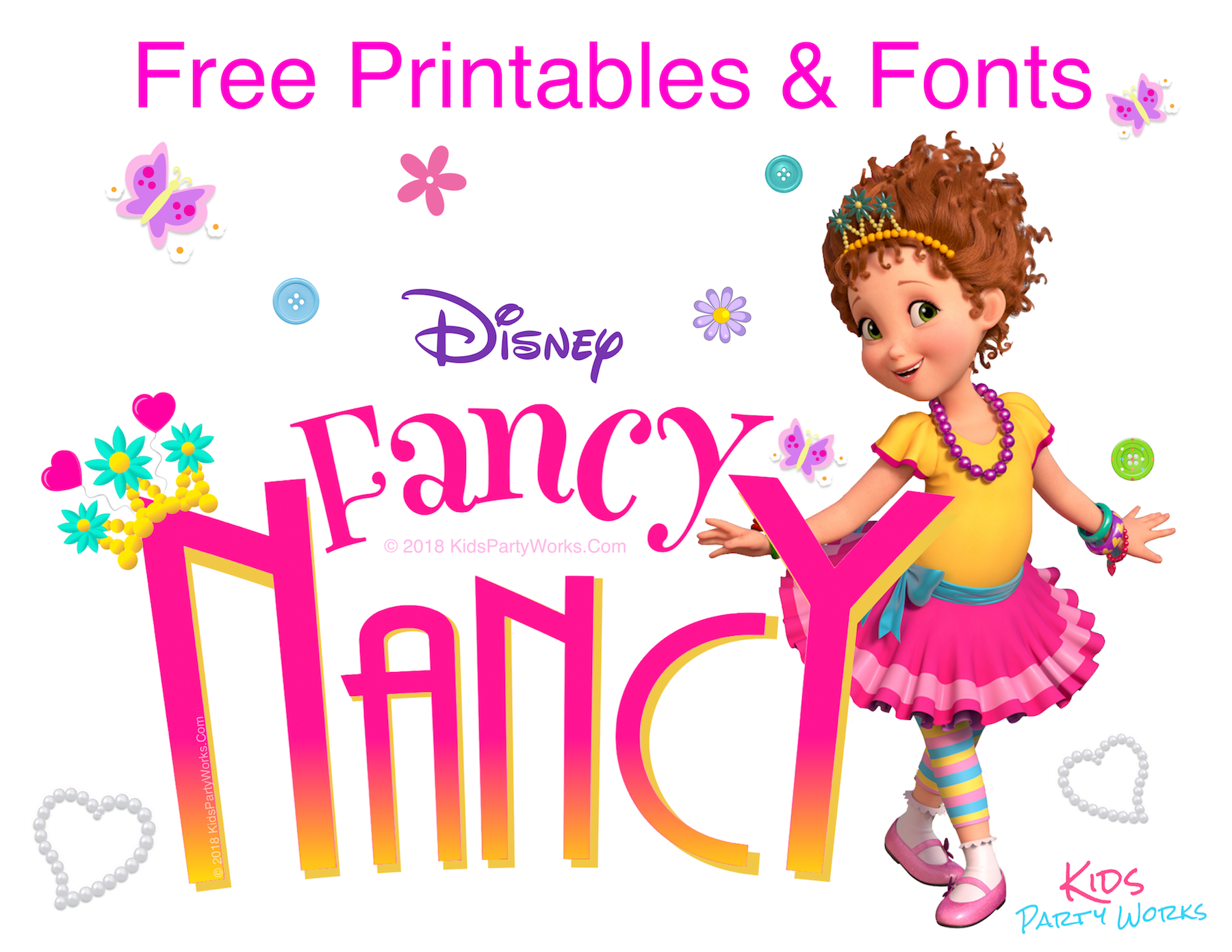3abe52be Fancy Nancy Party! Look how pretty these fonts are! And they're free, so  come get them! l KidsPartyWorks.Com