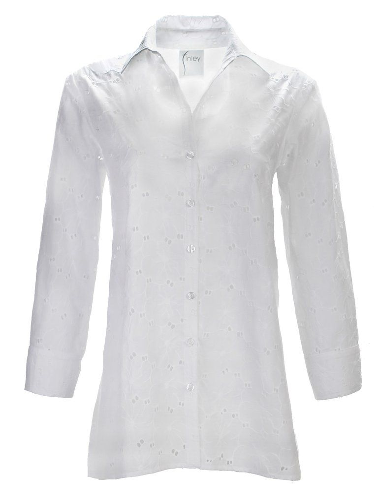 Trapeze Top 3/4 sleeve white Eyelet
