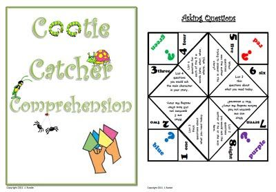 Cootie Catcher Comprehension - use for a pair share activity after independent reading