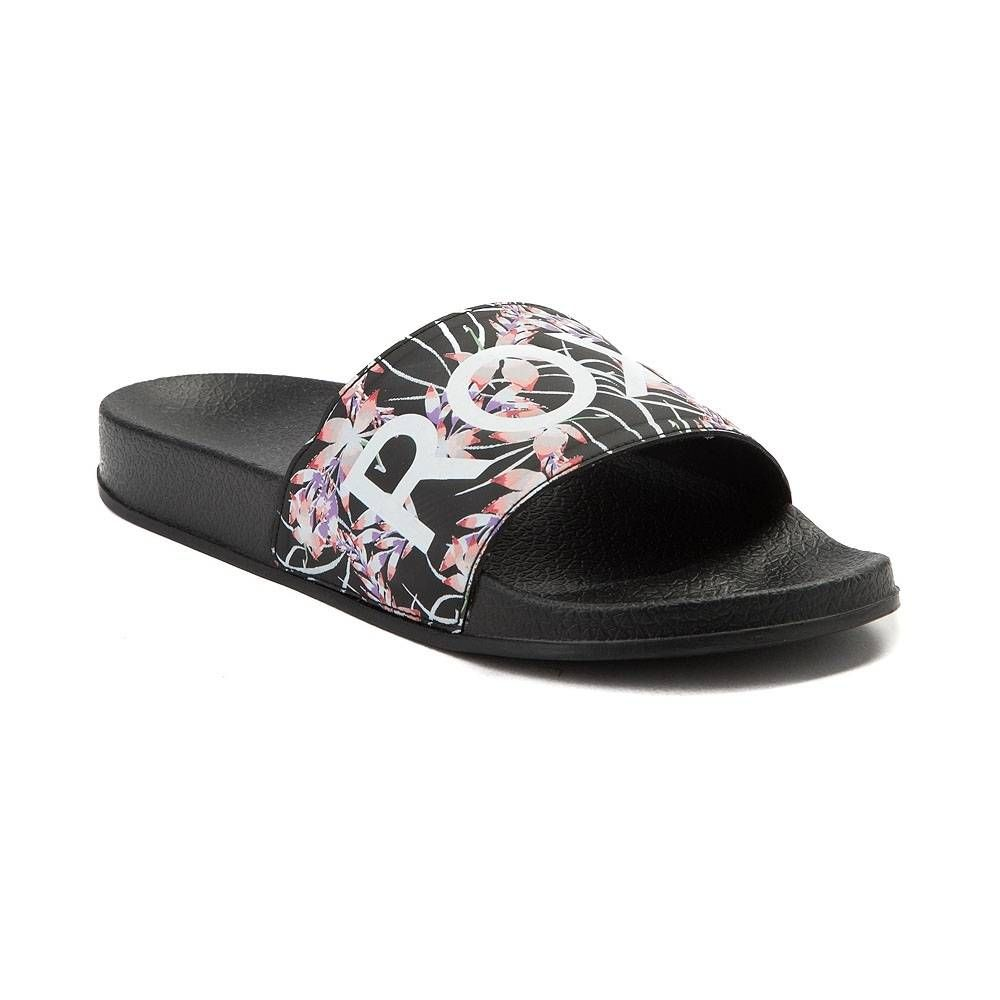 7ce879f9871b19 Womens Roxy Slippy Slide Sandal - Black Floral - 70040662