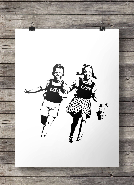 Printable art banksy police kids street art print black and