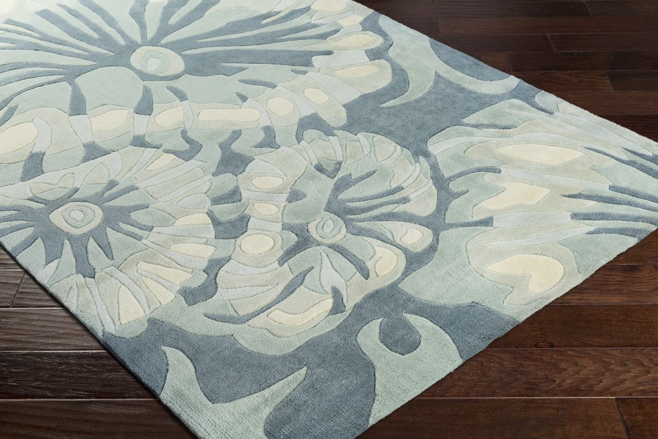 Enjoy Plush Rich Pile With This New Coastal Inspired Sculpted Tide Pool Teal Grey Area Rug