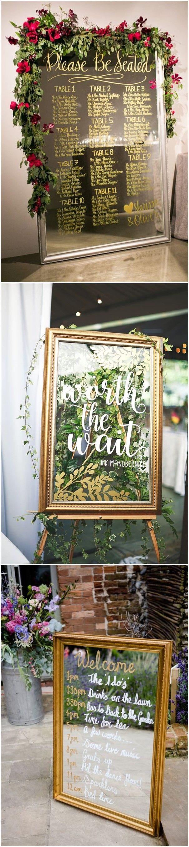 Unique church wedding decoration ideas  Wedding Decorations   Vintage Mirror Wedding Sign Decoration
