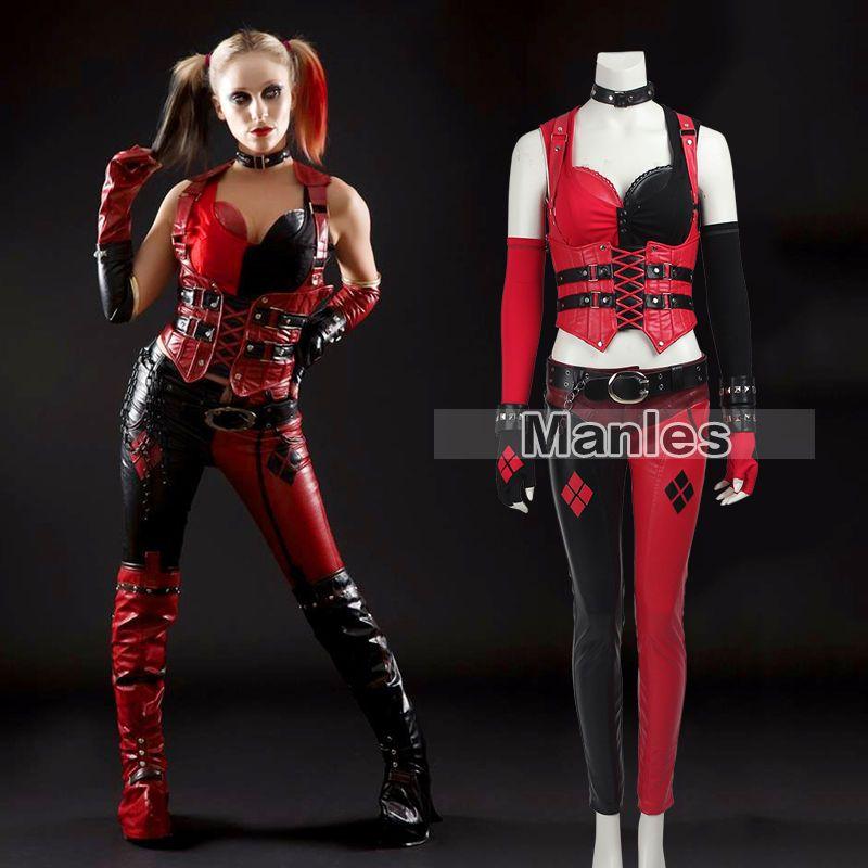 Harley Quinn Costume Adult Arkham City Halloween Fancy Dress