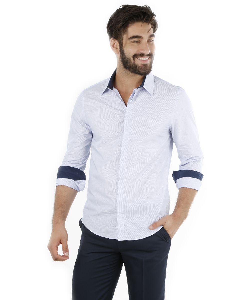 8a1f5a7367916 Camisa Social Slim Listrada Azul Claro - cea   Clothes   Camisas ...