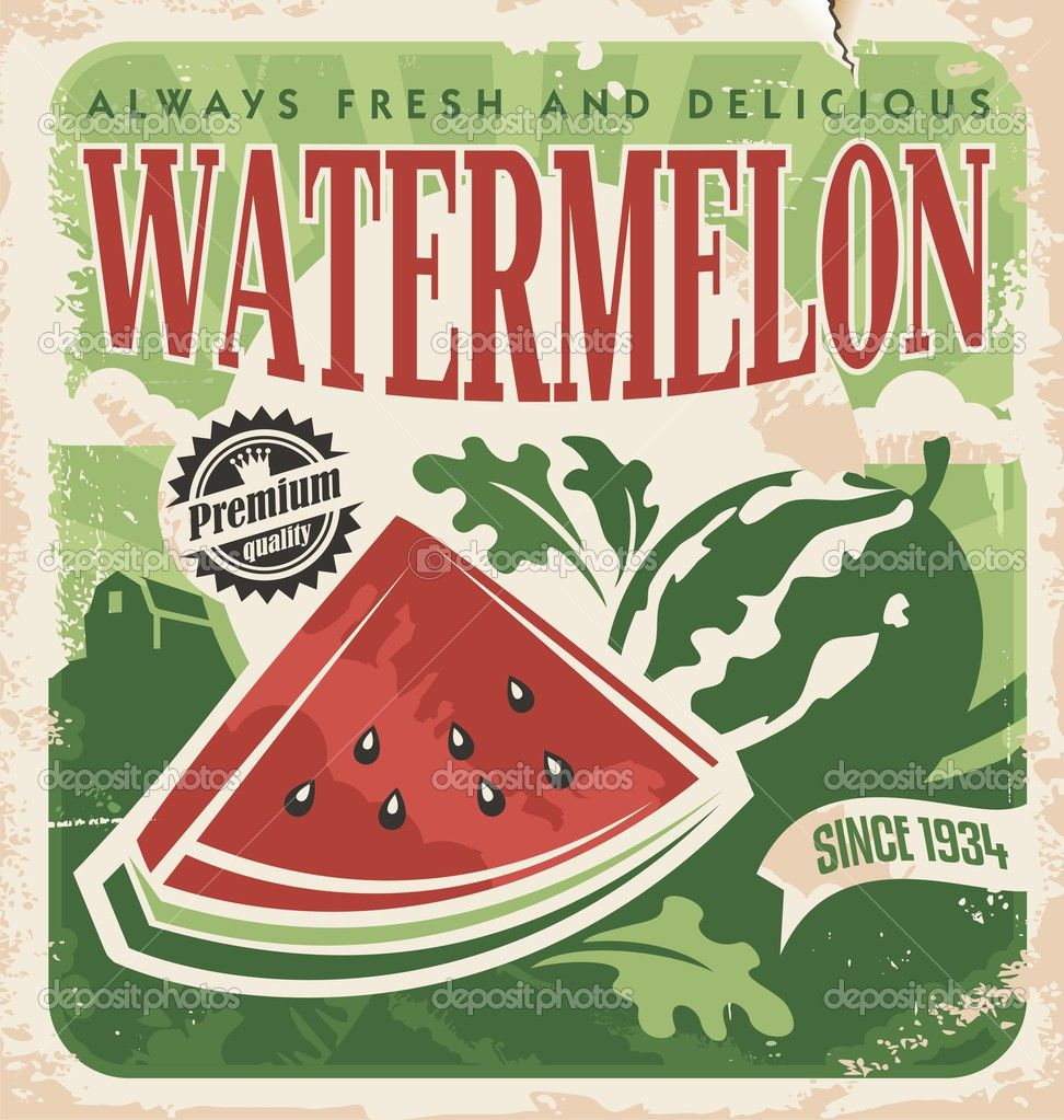 vintage poster template for watermelon farm stock vector lukeruk juicer lab pinterest. Black Bedroom Furniture Sets. Home Design Ideas