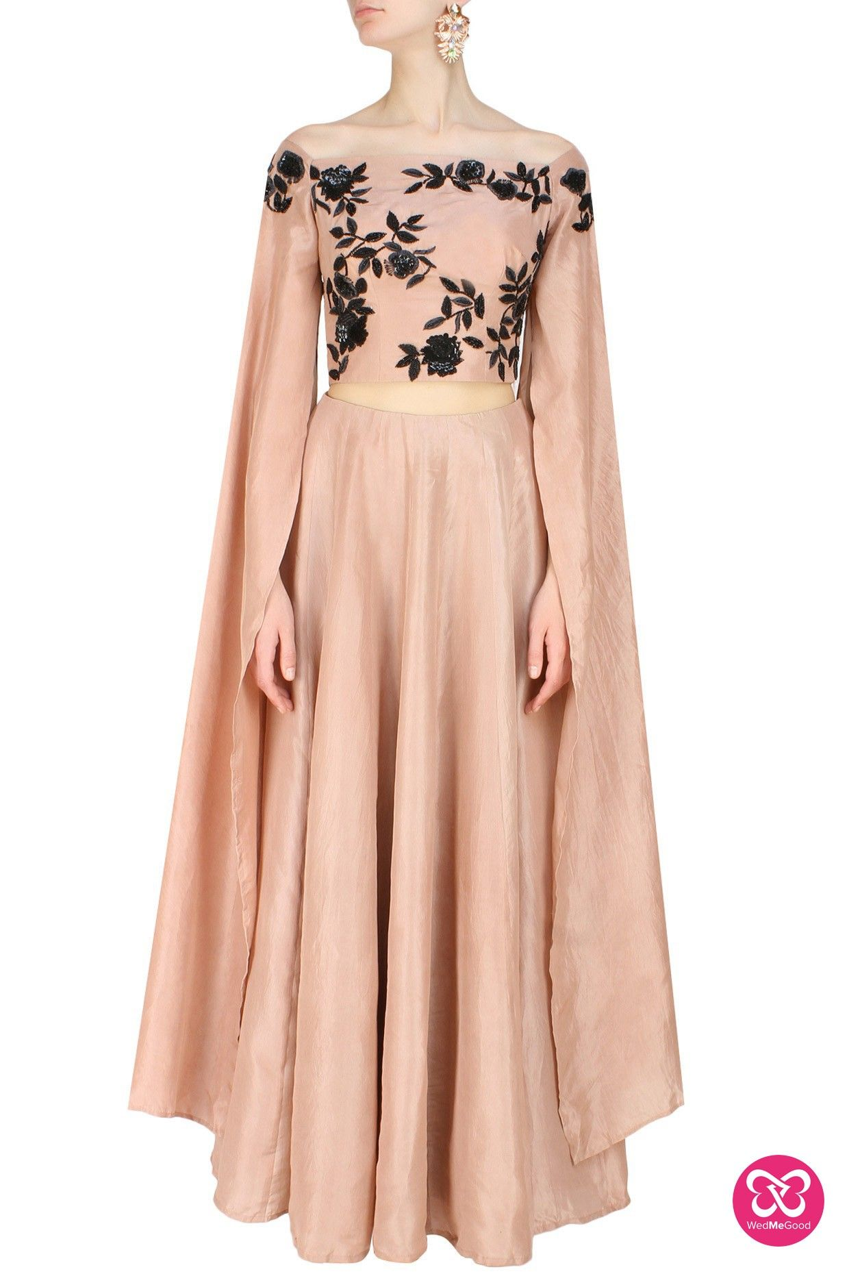 fb14769d1b319e Ank by Amrit Kaur presents Dusty rose off shoulder wing sleeves embroidered  blouse and lehenga set available only at Pernia's Pop Up Shop.