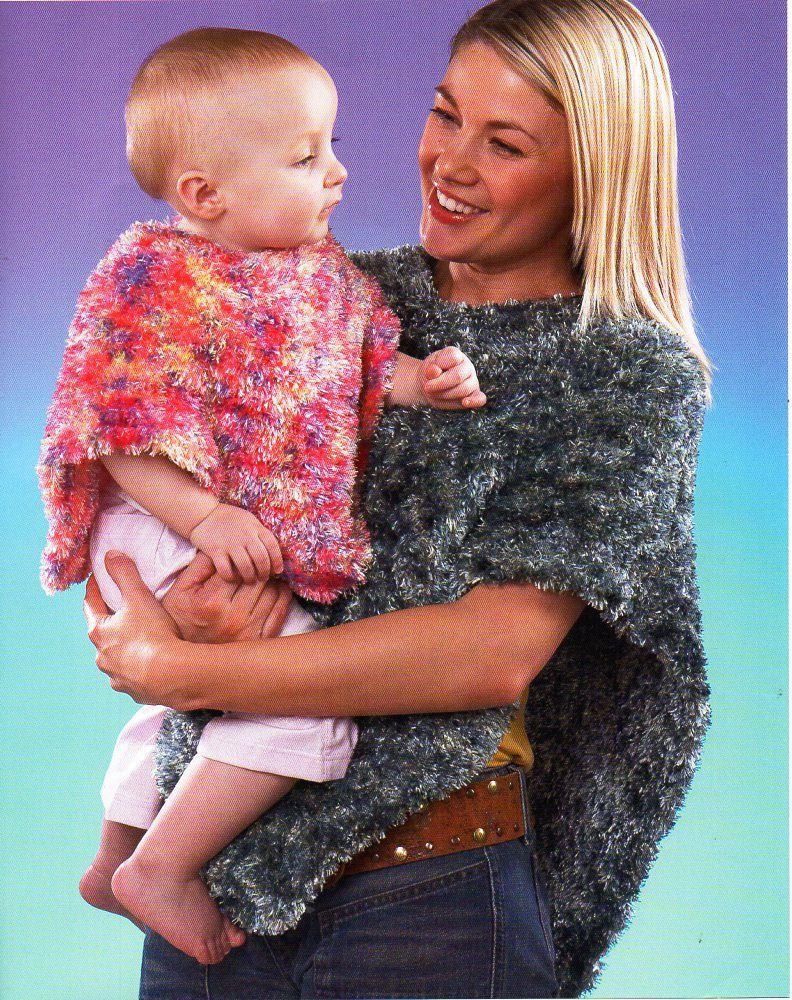 womens / baby/ girls poncho knitting pattern pdf Eyelash yarn ladies ...