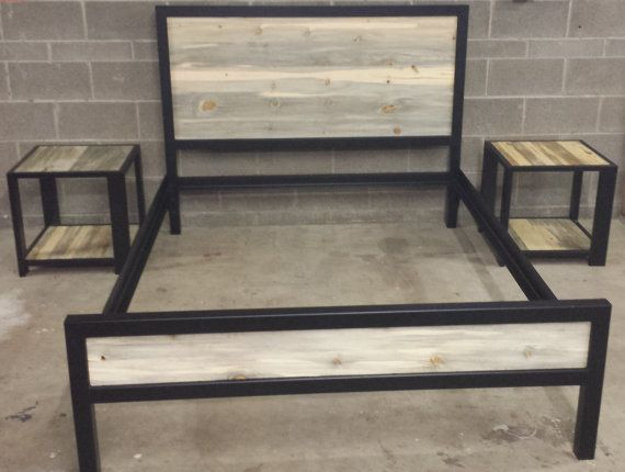 Modern Industrial Powder Coated High Back Bed Frame W By Jevworks