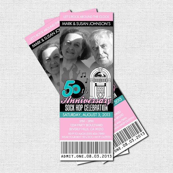 50s RETRO TICKET Invitations Sock Hop Birthday or Anniversary – 1950s Party Invitations