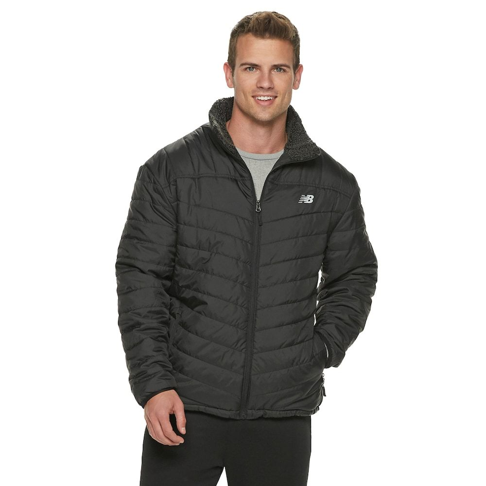 08aee1db411 Men s New Balance Quilted Puffer Jacket with Sherpa-Lined Collar in ...