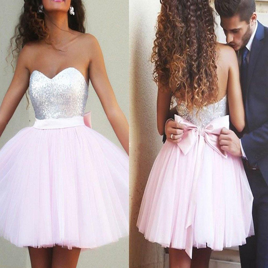 Pink dress hoco   popular sparkly sweetheart mismatched cute casual graduation