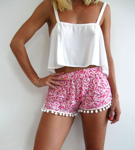Pom Pom Shorts Pink and White Swirl Pattern by ljcdesignss