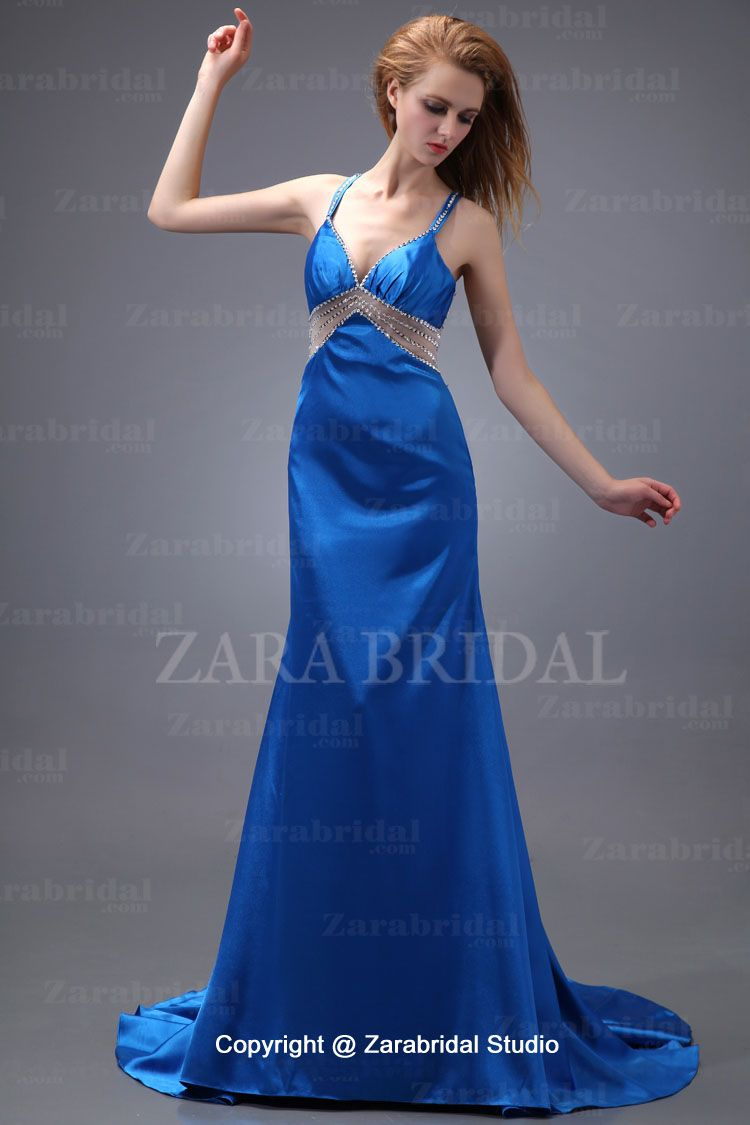 Rosebud ingenierÃa satin blue count train mermaid evening dress