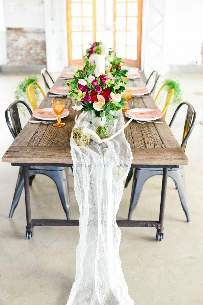 Mismatched boho table setting! COLOURFUL BOHO-INDUSTRIAL WEDDING ...