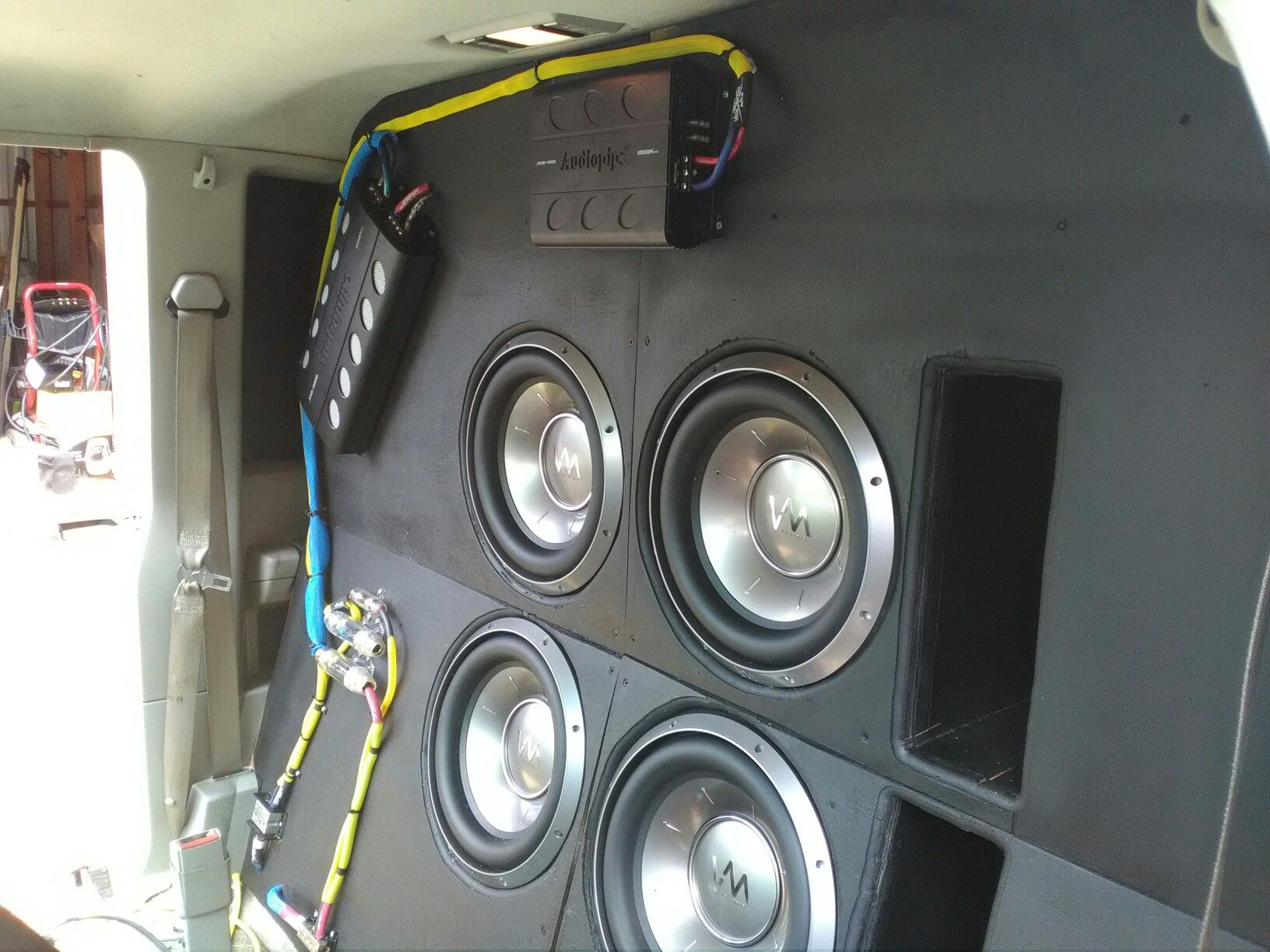 Subs Are In And Two Amps Have Power One More Amp Togo With Sub Wiring Then Rca