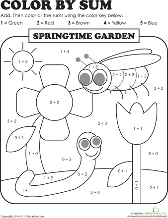 Color By Sum Springtime Garden Worksheet Education Com Addition Kindergarten 1st Grade Worksheets Kindergarten Colors