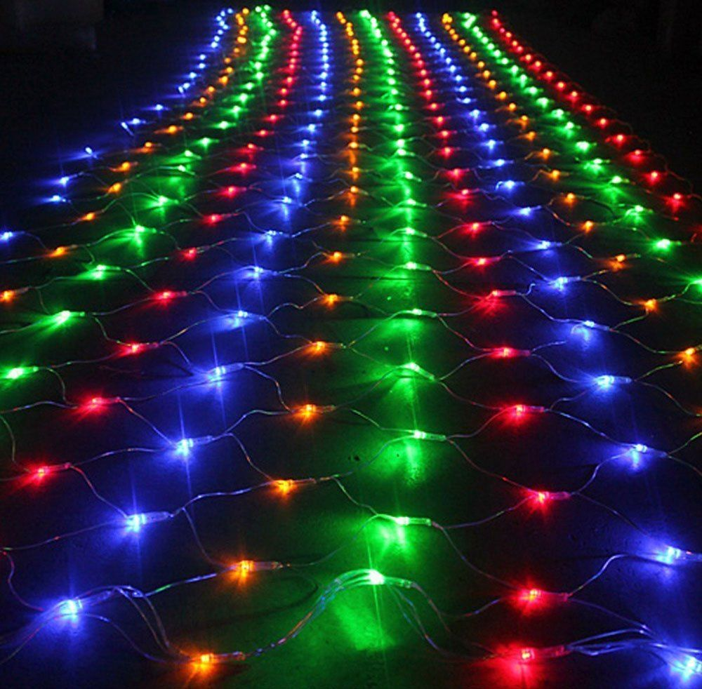 Outside multi color Christmas LED net lights Indoor
