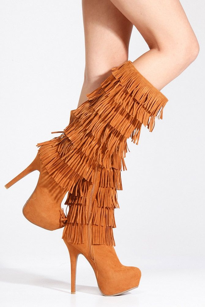 Anne Michelle Chestnut Fringe Platform Boots - New Shoes - New ...