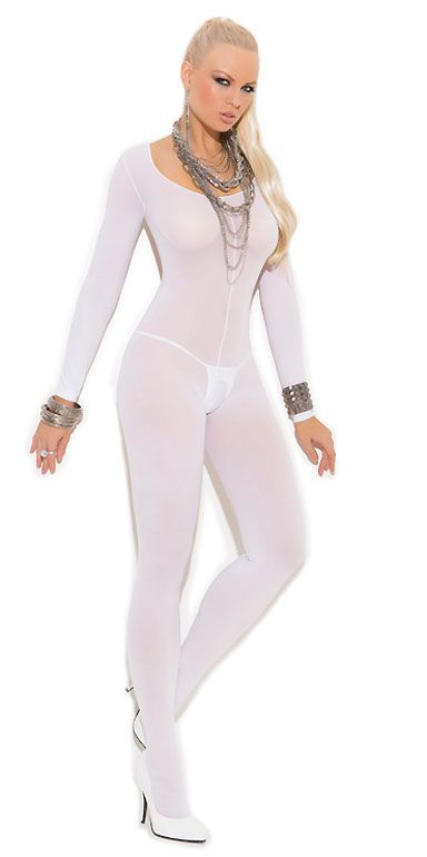 8280b910f Long Sleeve Black Nude White Opaque Crotchless Bodystocking 1606 ...