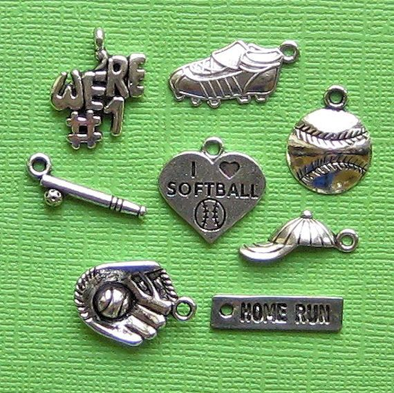 Softball Charm Collection Antique Silver Tone 9 Diffe Charms Col068 New3