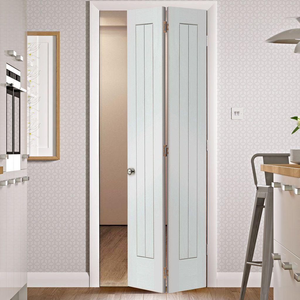Suffolk White Primed Bifold with Panel Effect & Suffolk White Primed Bifold with Panel Effect | Interior door Doors ...