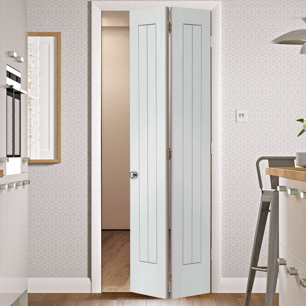suffolk white primed bifold with panel effect interior door