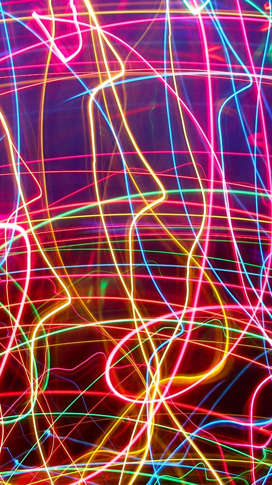 938x1668 Wallpaper neon, lines, plexus, light, bright