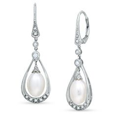 Vintage Oval Cultured Akoya Pearl Drop Earrings in 14K White Gold with White Topaz and Diamond Accents - Earrings - Zales