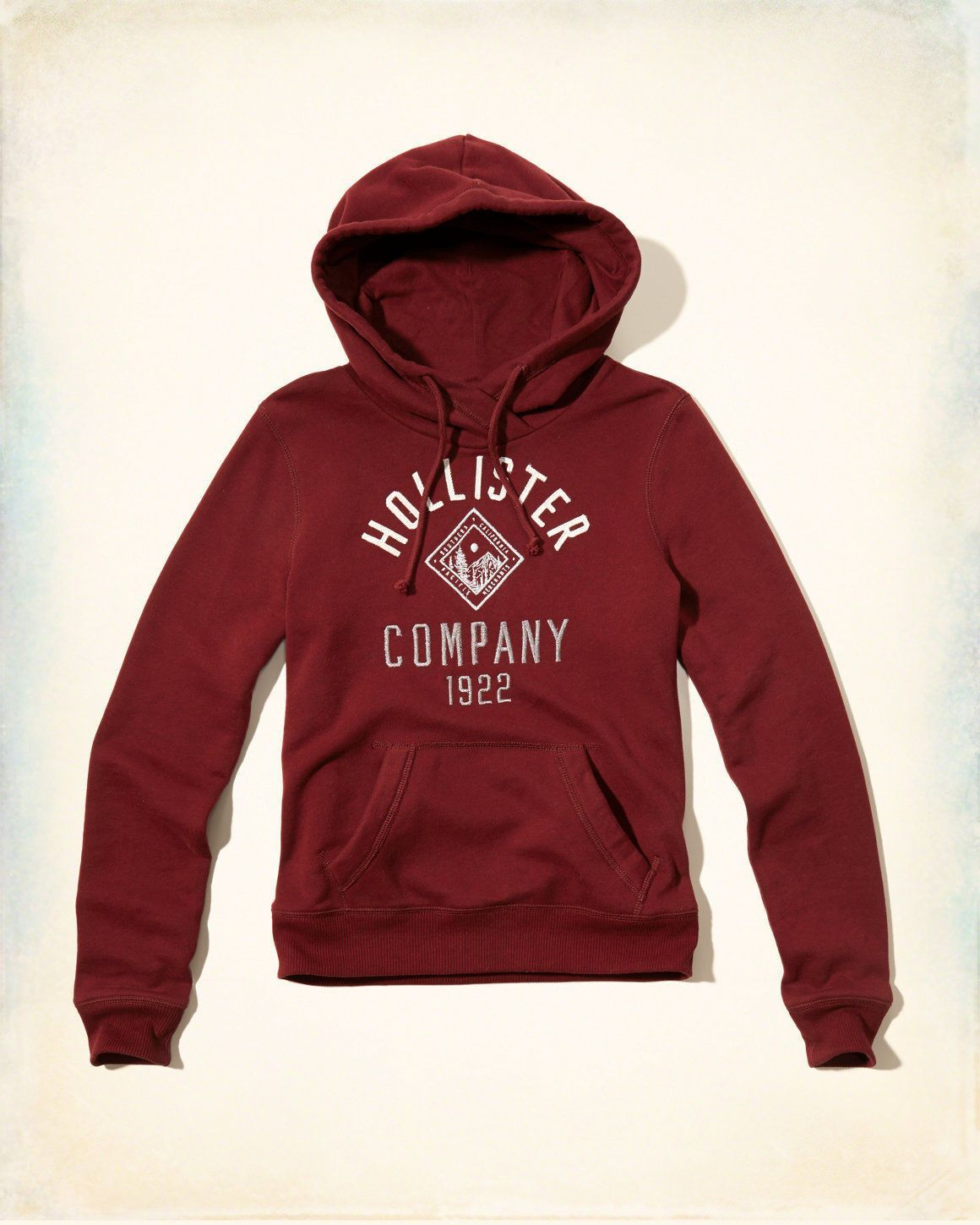 Hollister Womens Shine Logo Graphic Hoodie Burgundy | Clothes ...