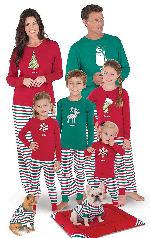 Holiday Stripe Matching Family Pajama Set- Red/Green ...