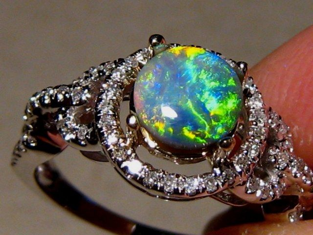 Black Opal Engagement Ring Psychedelic Pinterest