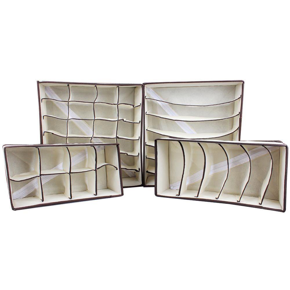 Drawer Dividers Socks Bra Underwear Closet Organizers Storage Boxes 4 Bin Set #Unbranded