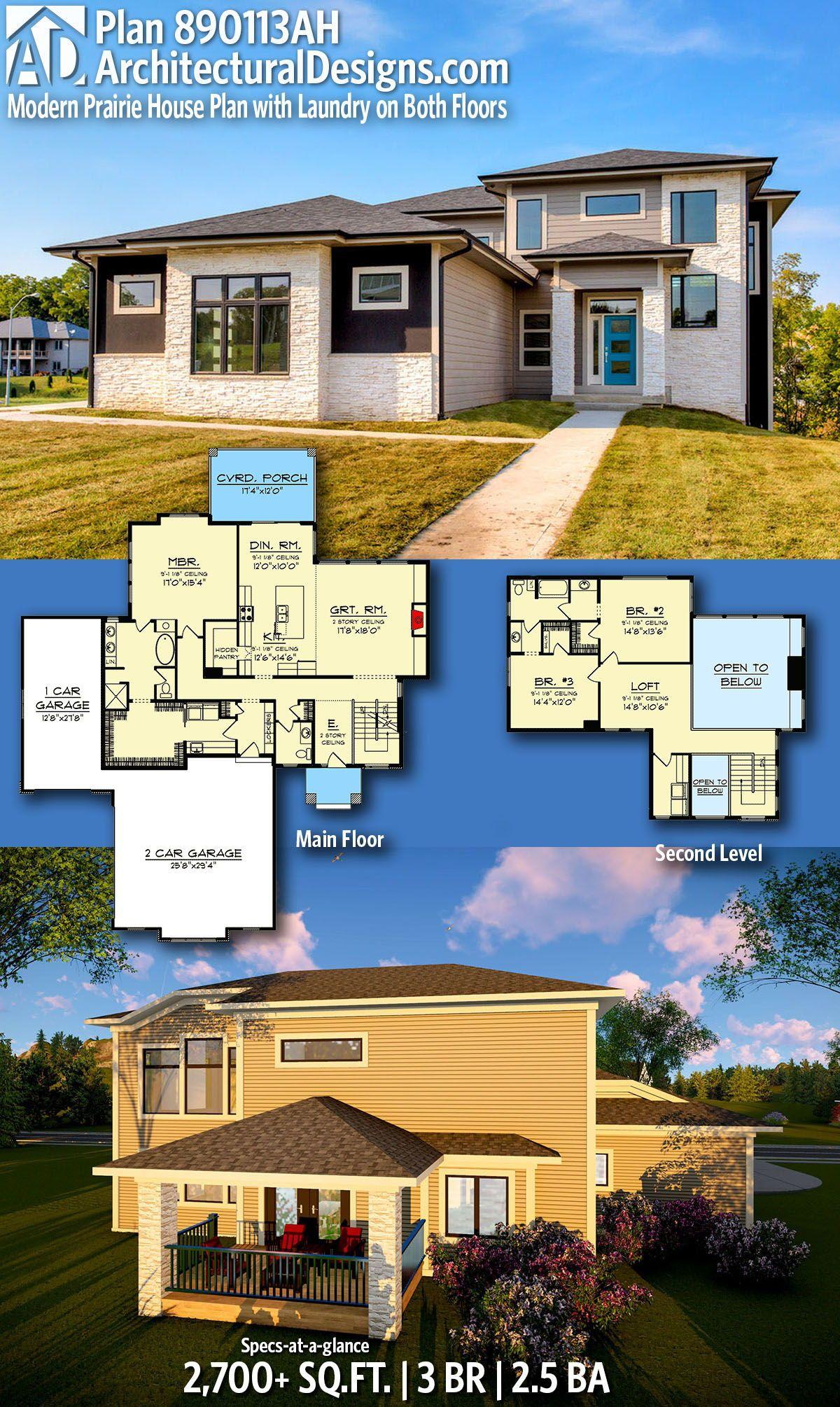 Plan 890113ah Modern Prairie House Plan With Laundry On Both Floors Prairie House House Plans Home Design Floor Plans