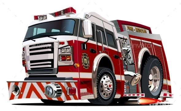 Vector Cartoon Firetruck With Images Fire Truck Drawing Fire