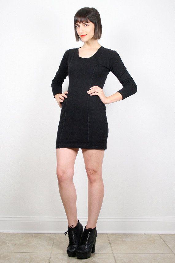 Vintage 80s Dress Black Dress Bodycon Bandage Dress Micro Mini Dress Long Sleeve Minimalist Dress T Shirt Dress Party Dress 1980s M Medium #vintage #etsy #80s #1980s #dress #mini #micro #bandage #bodycon #minimalist