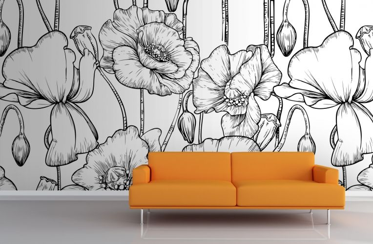 Black and White Illustrated Flowers Mural ...
