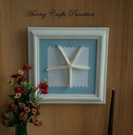 Framed Real Natural Starfish Picture Nautical Seaside Beach Hut Wall Hanging Home Decoration Ornament Housewarming Wedding Anniversary by HunnyCraftsPrimitive on Etsy