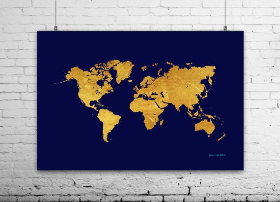 Gold World Map Poster.Navy Gold Map Print Navy World Map Art Gold World Map By Ikonolexi